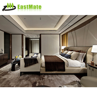 5 Star Luxury Moderno Hotel Furniture Suite Custom Made Metal Fabric Hotel Bedroom Set